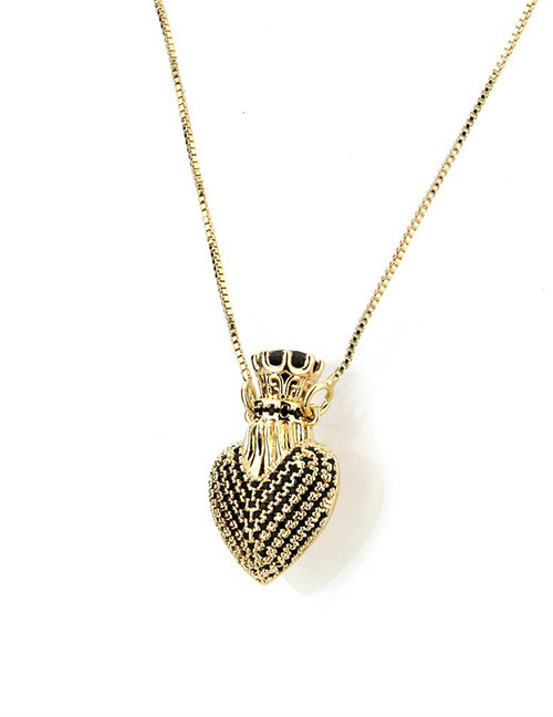 Fashion Black Heart Shape Decorated Necklace