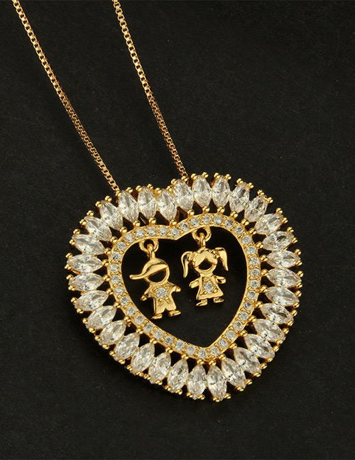 Fashion Gold Color Boy&girl Shape Decorated Necklace