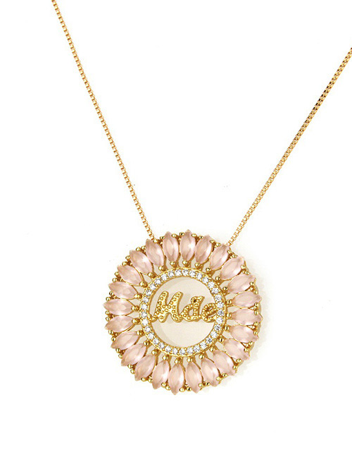 Fashion Pink Letter Shape Decorated Necklace