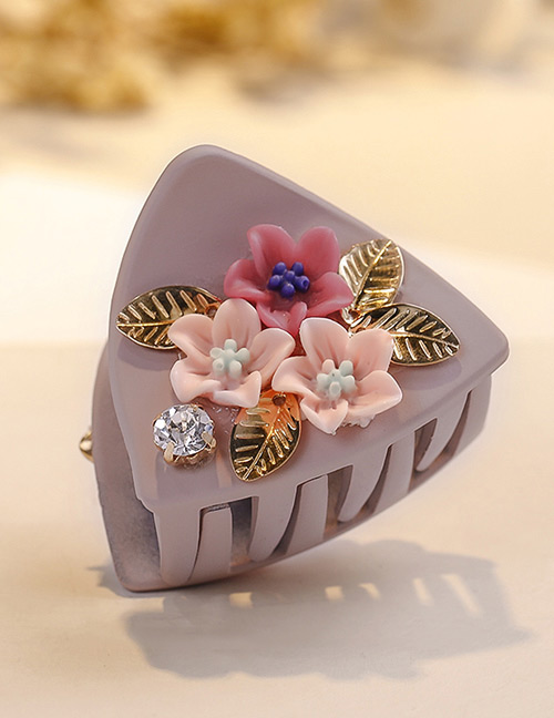 Fashion Pink Flower Shape Decorated Hair Clip