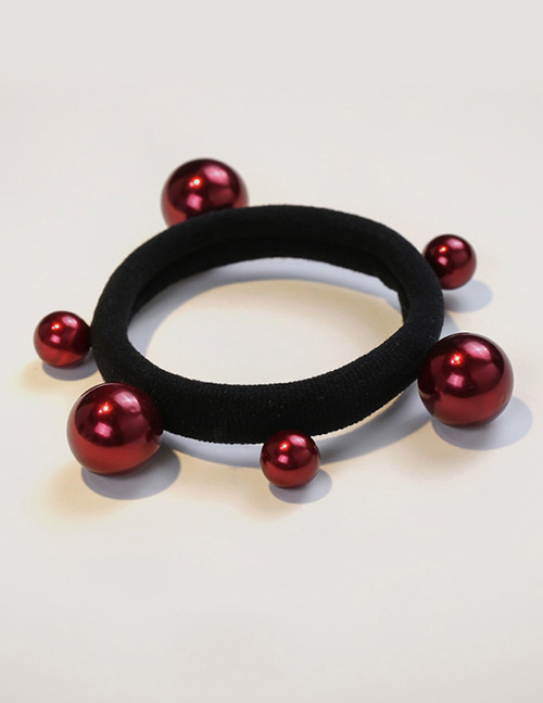 Fashion Claret Red Bead Decorated Pure Color Hair Band