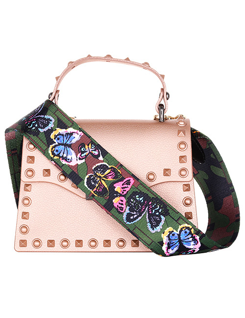 Fashion Olive Green Butterfly Pattern Decorated Bag Belt