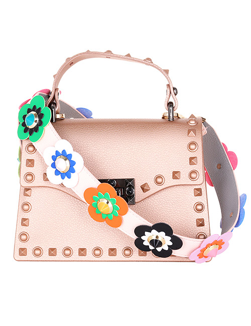 Fashion Pink Flower Shape Decorated Bag strap
