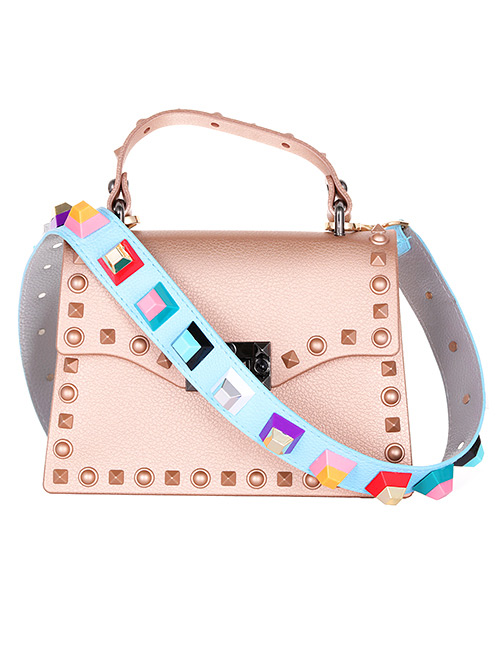 Fashion Blue Rivet Decorated Bag strap