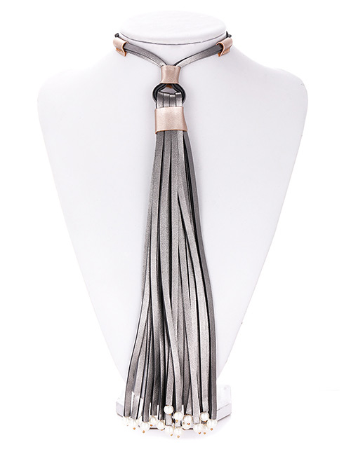 Fashion Gun Black Tassel Decorated Pure Color Necklace