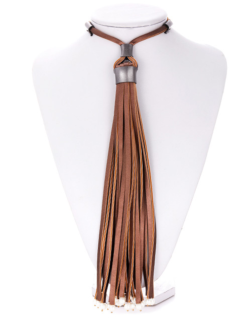Fashion Brown Tassel Decorated Pure Color Necklace