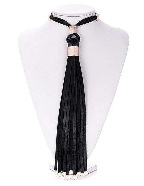Fashion Black Tassel Decorated Pure Color Necklace