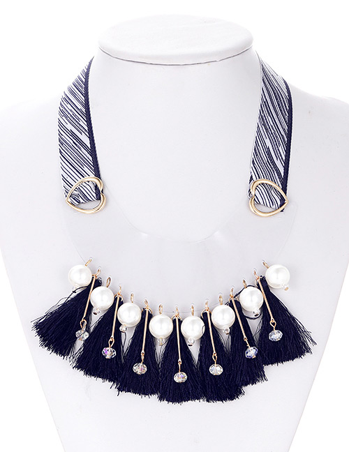 Fashion Black Tassel&pearl Decorated Necklace