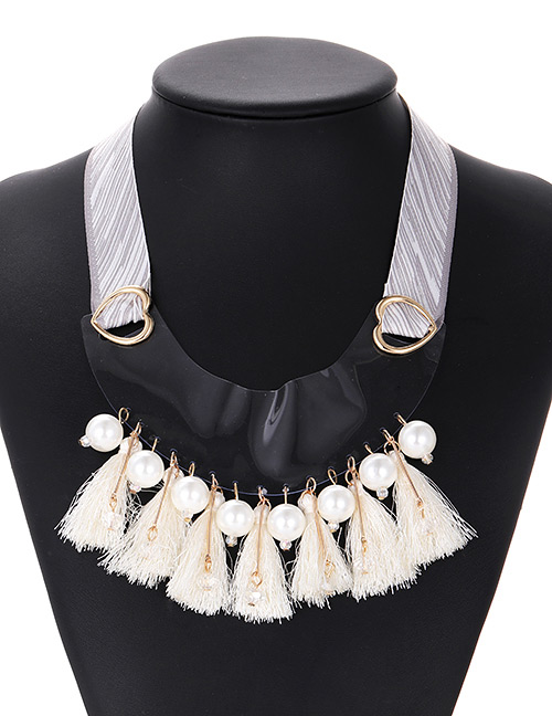Fashion Beige Tassel&pearl Decorated Necklace