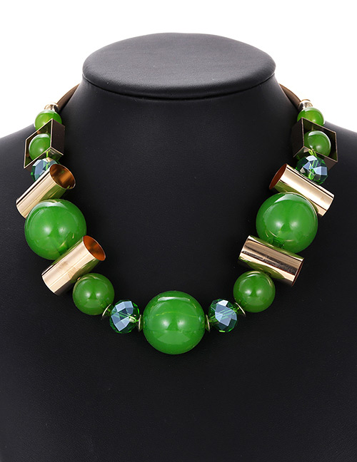 Fashion Green Bead Decorated Necklace