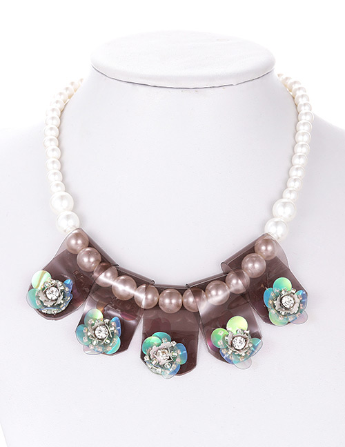 Fashion Coffee Flower Shape Decorated Necklace