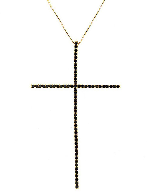 Fashion Black+gold Color Cross Shape Decorated Necklace