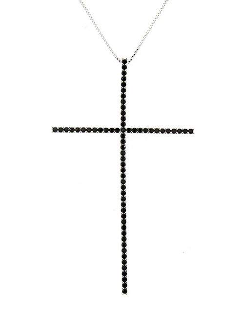 Fashion Silver Color+black Cross Shape Decorated Necklace