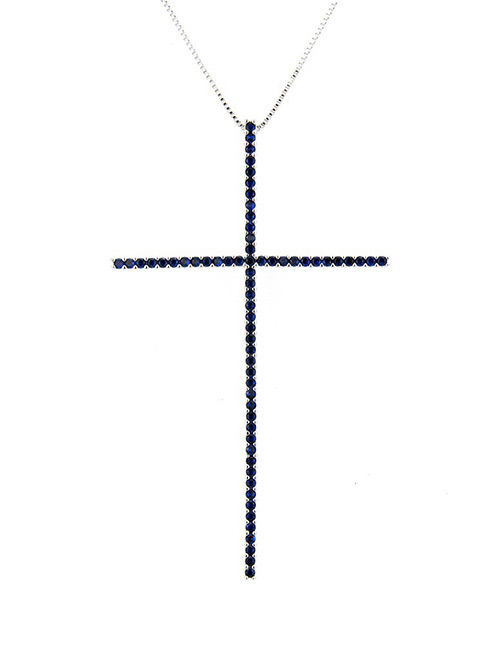 Fashion Silver Color+blue Cross Shape Decorated Necklace