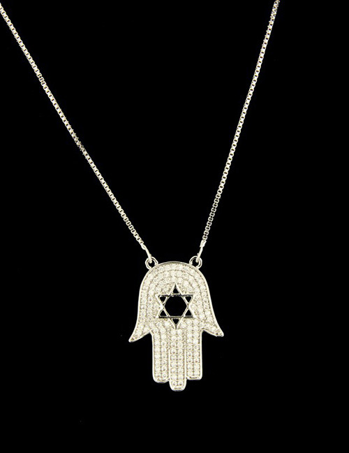 Fashion Silver Color+black Hand Shape Decorated Necklace