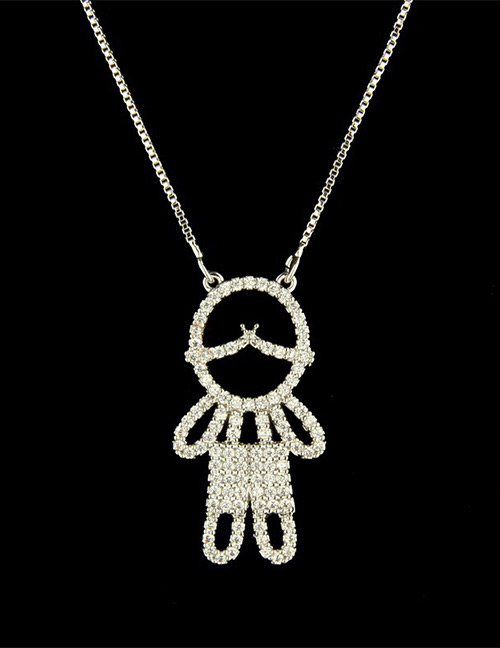 Fashion Silver Color Boy Shape Decorated Necklace