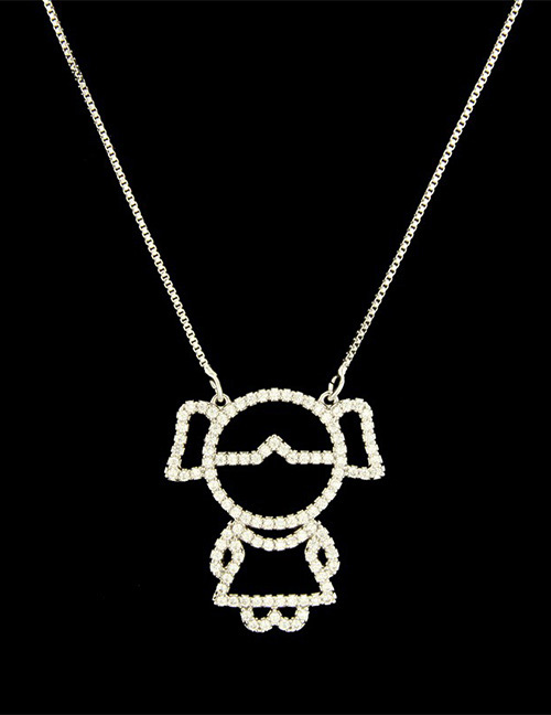Fashion Silver Color Girl Shape Decorated Necklace