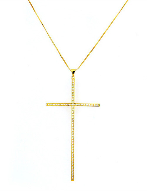 Fashion Gold Color Cross Shape Decorated Necklace