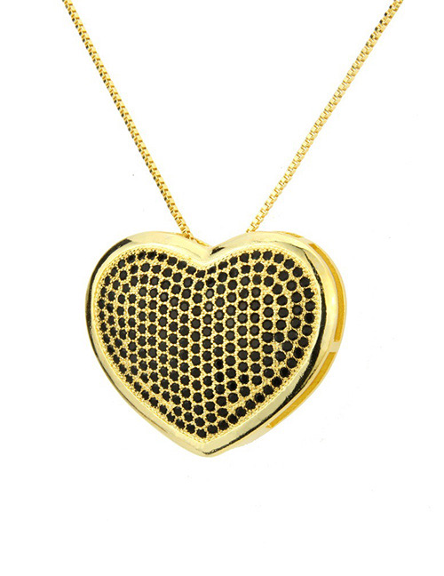 Fashion Black+gold Color Heart Shape Decorated Necklace