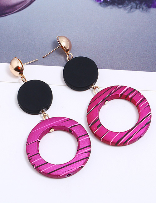 Fashion Plum Red Circular Ring Shape Decorated Earrings