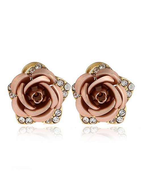 Fashion Khaki Flower Shape Decorated Earrings