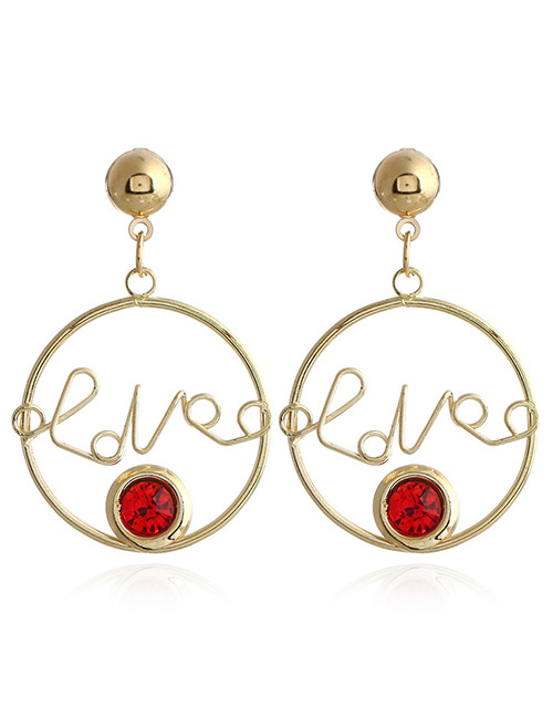 Fashion Red Letter Shape Decorated Earrings