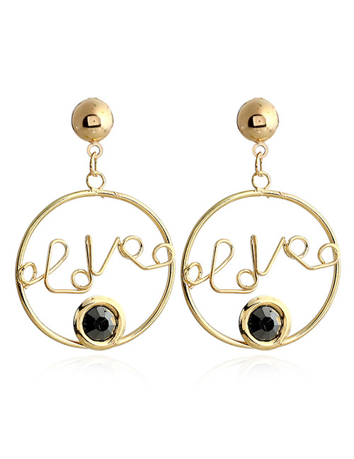 Fashion Black Letter Shape Decorated Earrings