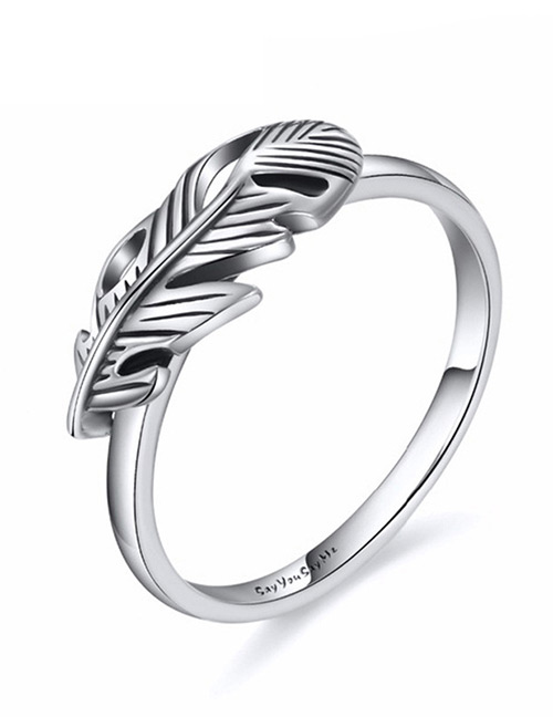 Fashion Silver Color Leaf Shape Decorated Ring