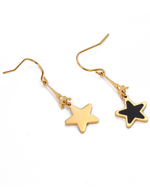 Fashion Gold Color+black Star Shape Decorated Earrings