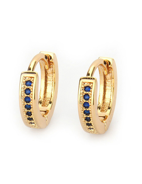 Fashion Sapphire Blue Round Shape Decorated Earrings