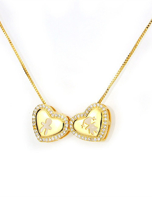 Fashion Gold Color Boy&girl Pattern Decorated Necklace