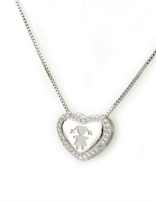Fashion Silver Color Gril Pattern Decorated Necklace