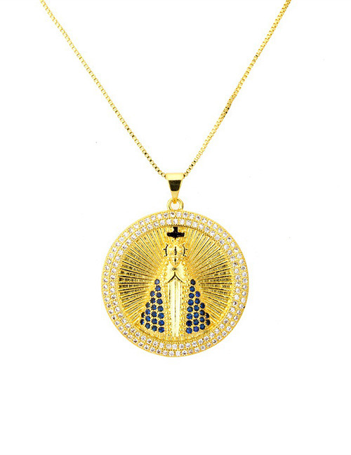 Fashion Gold Color+sapphire Blue Round Shape Decorated Necklace