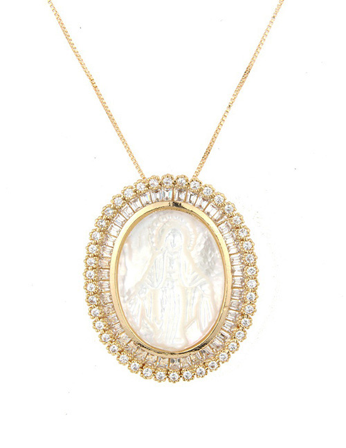 Fashion Gold Color Oval Shape Decorated Necklace