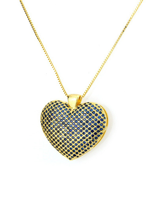 Fashion Blue+gold Color Heart Shape Decorated Necklace