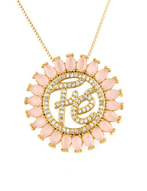 Fashion Pink Letter Shape Decorated Hollow Out Necklace