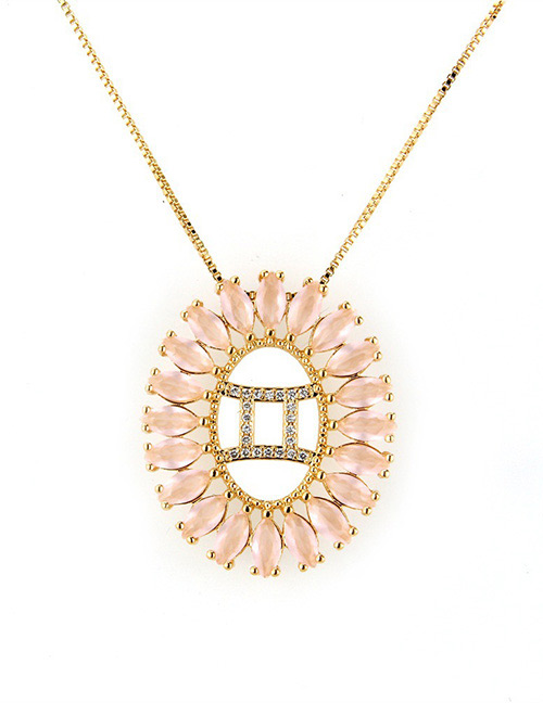 Fashion Gold Color Gemini Shape Decorated Necklace