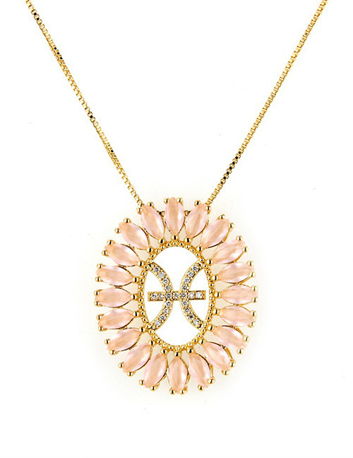 Fashion Gold Color Pisces Shape Decorated Necklace