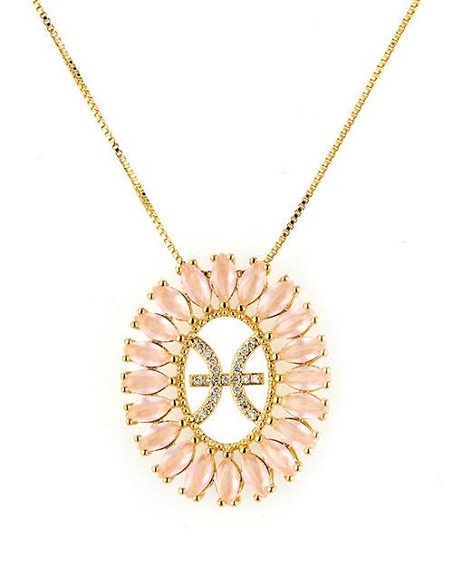 Fashion Gold Color Pisces Shape Decorated Necklace