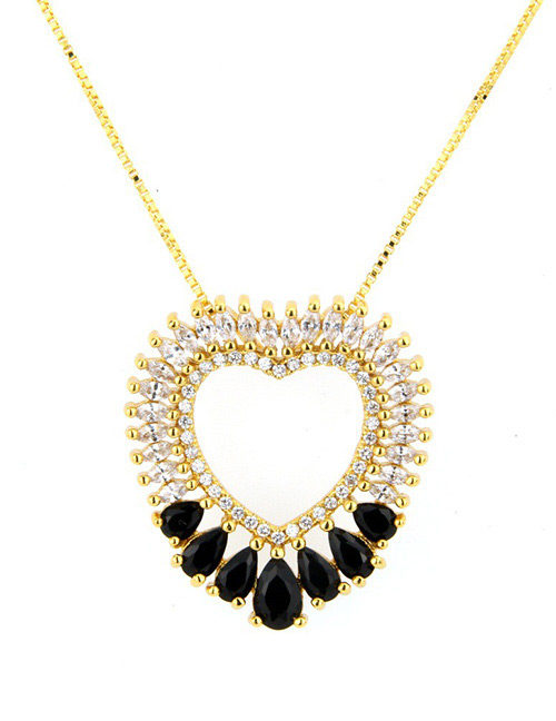 Fashion Gold Color+black Heart Shape Decorated Necklace