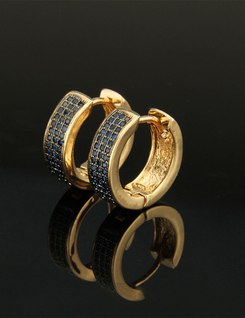 Fashion Blue+gold Color Round Shape Decorated Earrings