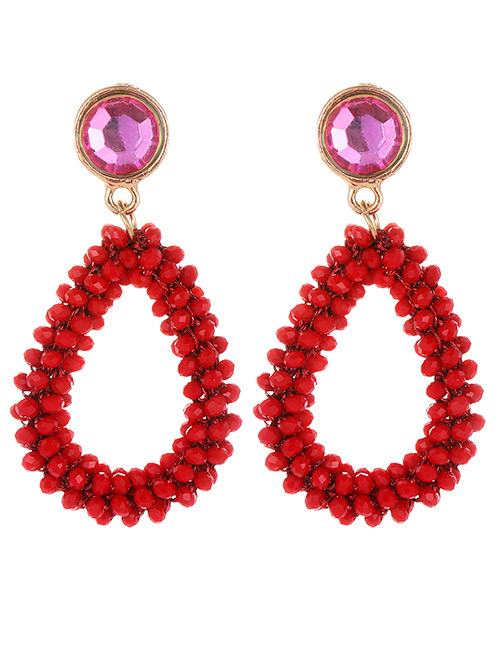Fashion Claret Red Water Drop Shape Decorated Earrings