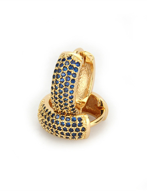Fashion Sapphire Blue+gold Color Round Shape Decorated Earrings