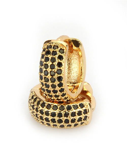 Fashion Gold Color+black Diamond Decorated Earrings