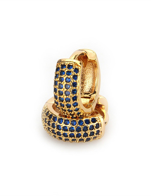 Fashion Gold Color+blue Diamond Decorated Earrings