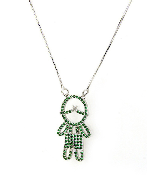 Fashion Green Boy Shape Decorated Necklace