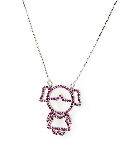 Fashion Purple Gril Pattern Decorated Necklace
