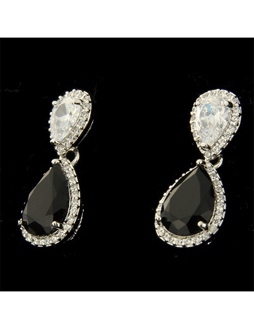 Fashion Silver Color+black Water Drop Shape Decorated Earrings