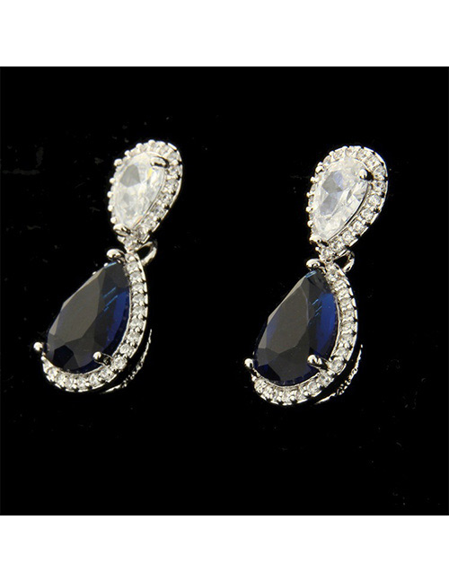 Fashion Silver Color+blue Water Drop Shape Decorated Earrings