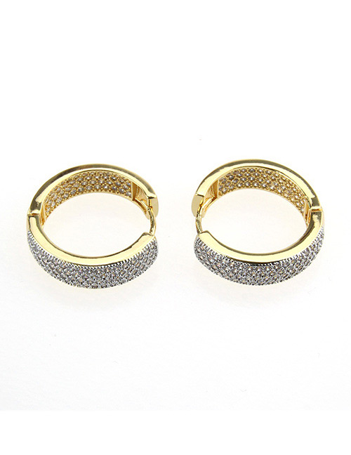 Fashion Gold Color+white Round Shape Decorated Earrings